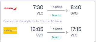 Vuelo Valencia Sevilla